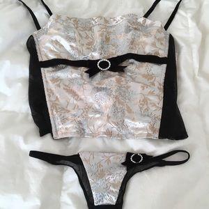 Cute Vintage Silky lingerie set